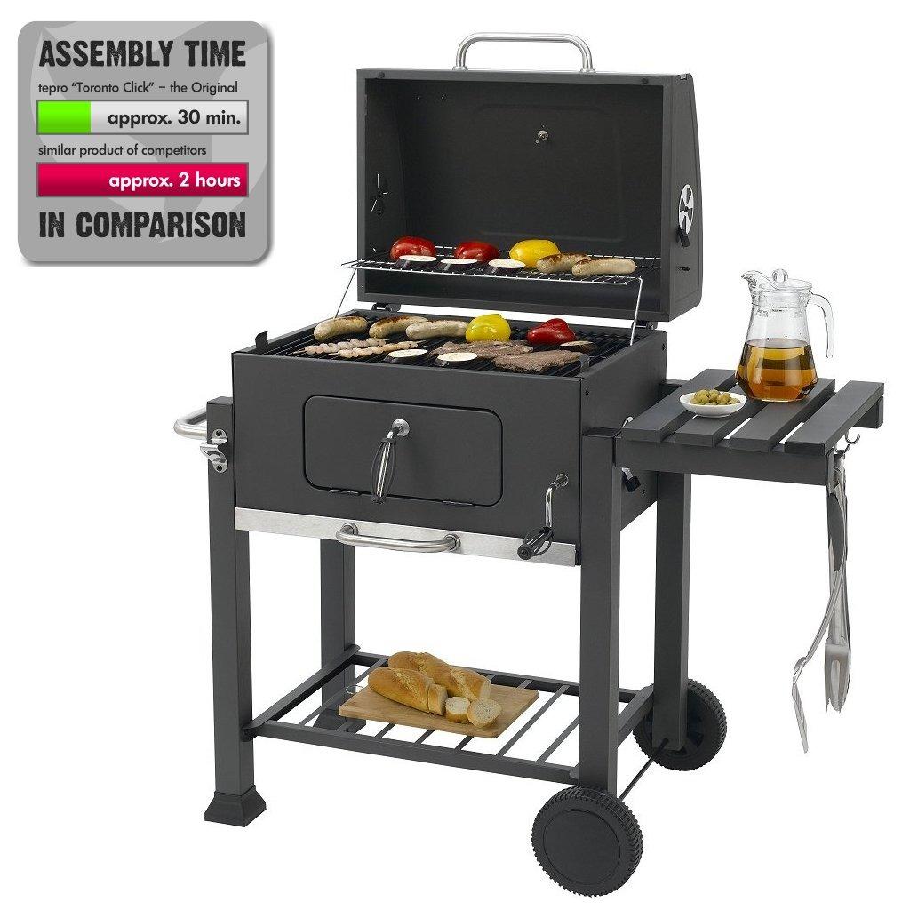 Tepro Toronto Click Houtskool Barbecue met Inzetrooster RVS/Zwart